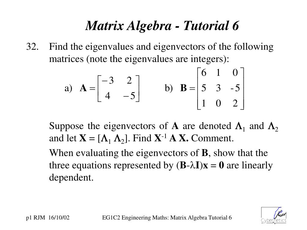 PPT - Matrix Algebra - Tutorial 6 PowerPoint Presentation