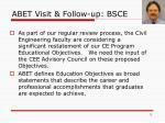 abet visit follow up bsce