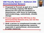 cee faculty search amherst 250 environmental sensors