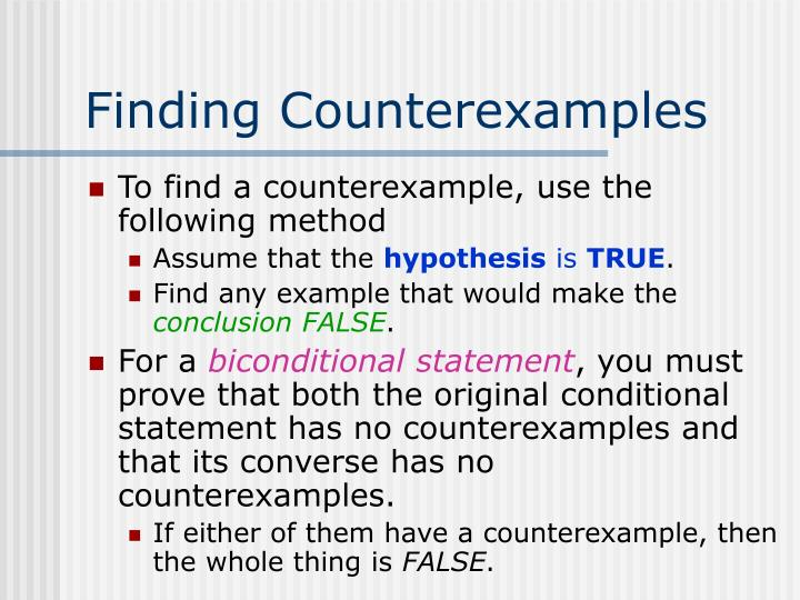 Finding Counterexamples