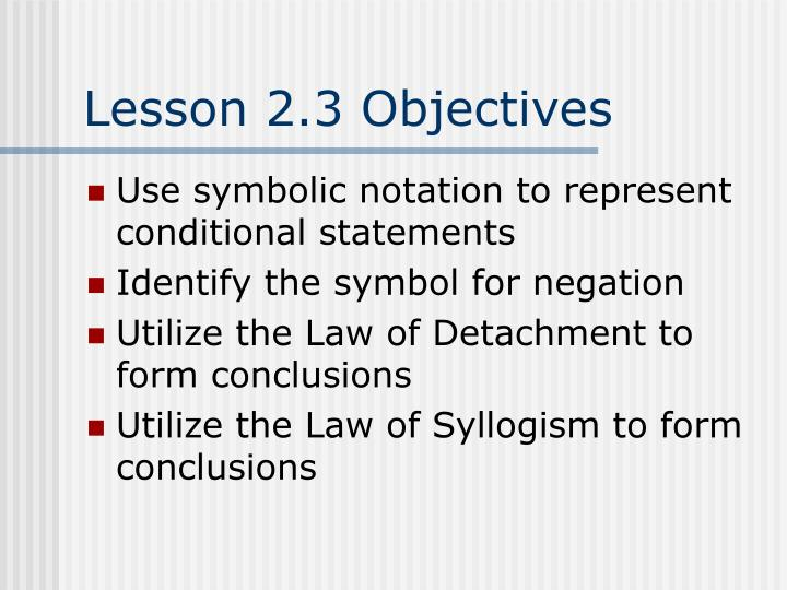 Lesson 2.3 Objectives