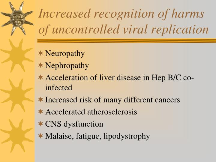 Increased recognition of harms of uncontrolled viral replication