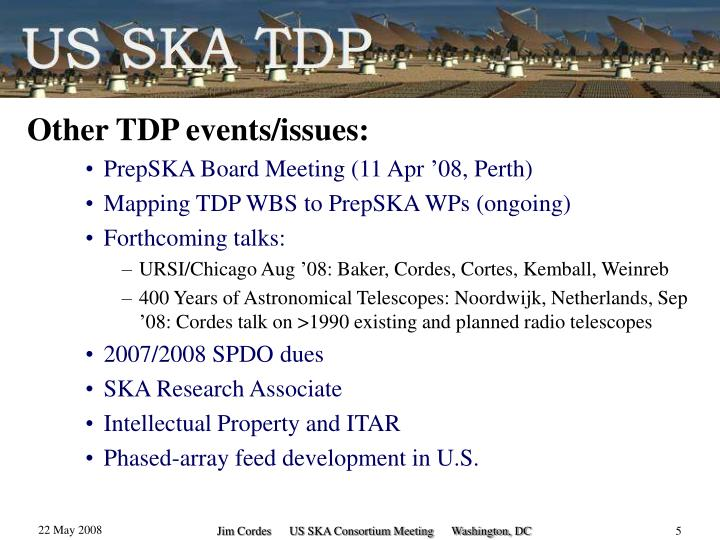 Other TDP events/issues: