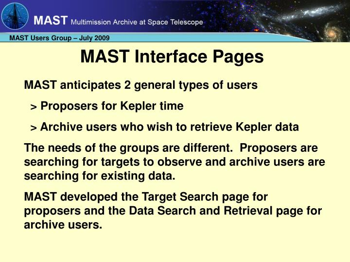 MAST Interface Pages