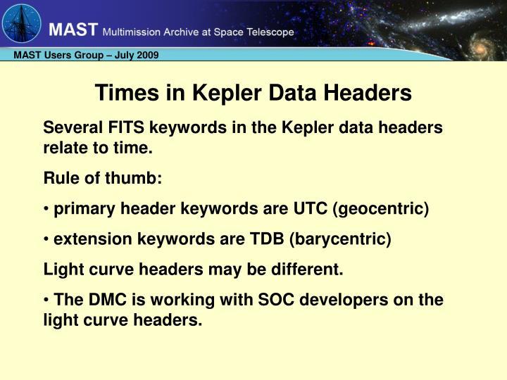 Times in Kepler Data Headers