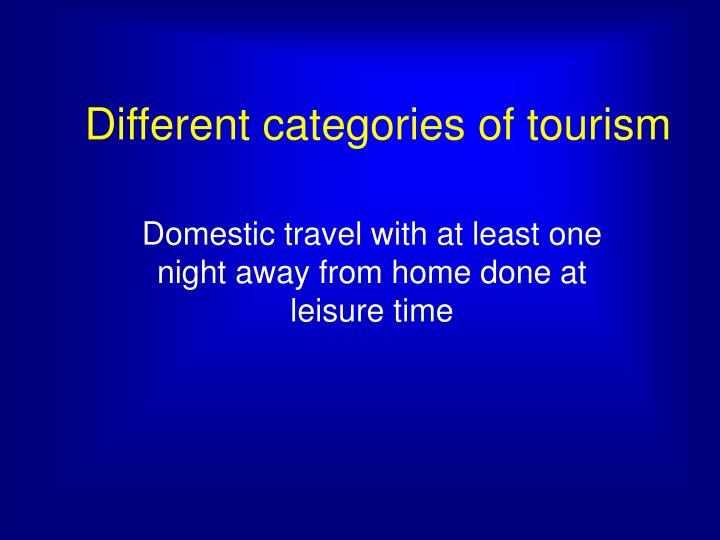 Different categories of tourism