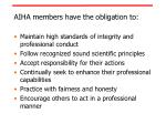 aiha members have the obligation to