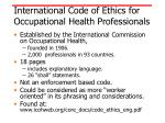 international code of ethics for occupational health professionals