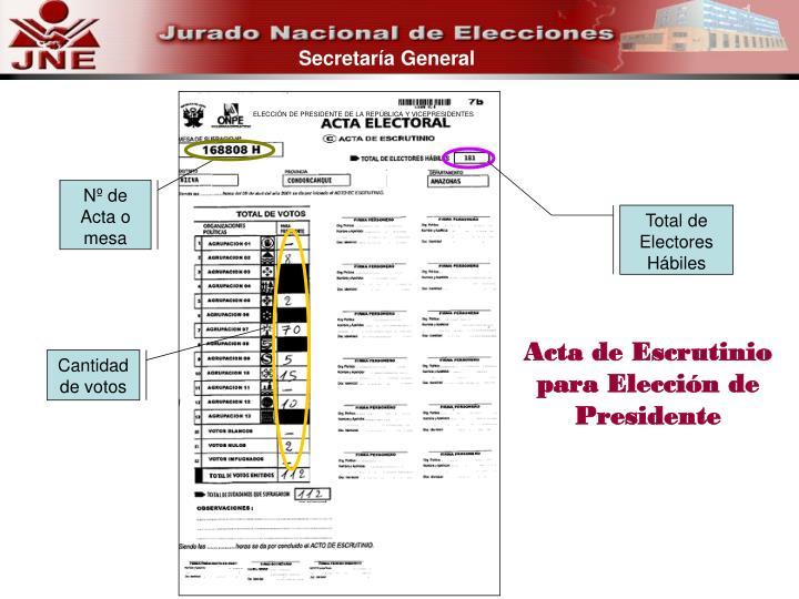 ELECCIÓN DE PRESIDENTE DE LA REPÚBLICA Y VICEPRESIDENTES