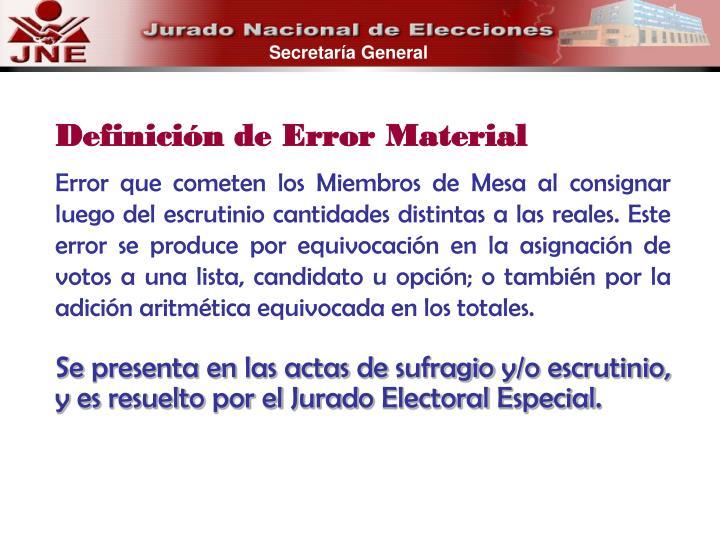 Definición de Error Material