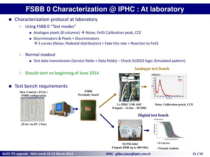 FSBB 0 Characterization @ IPHC : At laboratory