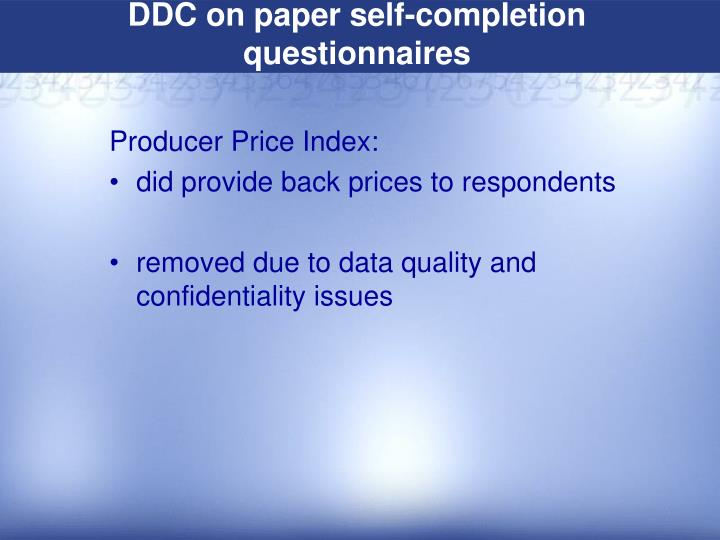 DDC on paper self-completion questionnaires