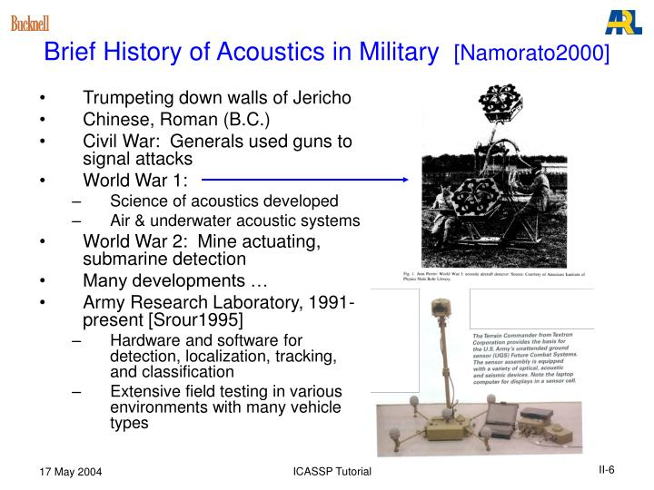 Brief History of Acoustics in Military
