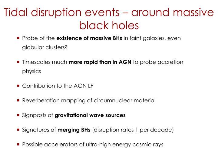 Tidal disruption events – around massive black holes