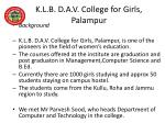 k l b d a v college for girls palampur