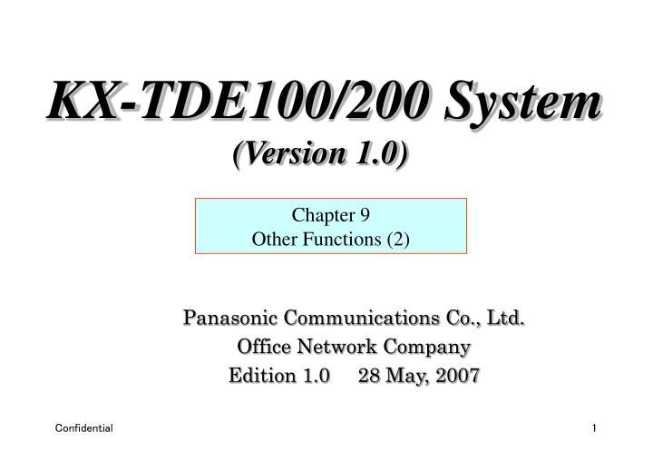 panasonic communications co ltd office network company edition 1 0 28 may 2007 n.