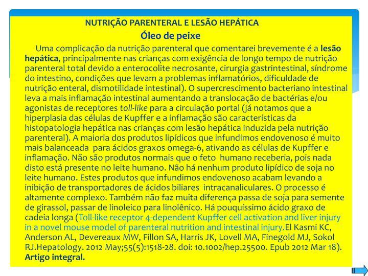 NUTRIÇÃO PARENTERAL E LESÃO HEPÁTICA