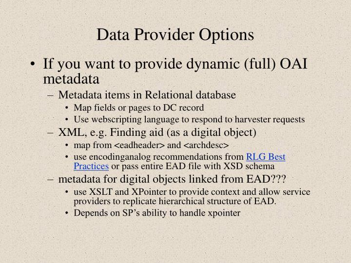 Data Provider Options