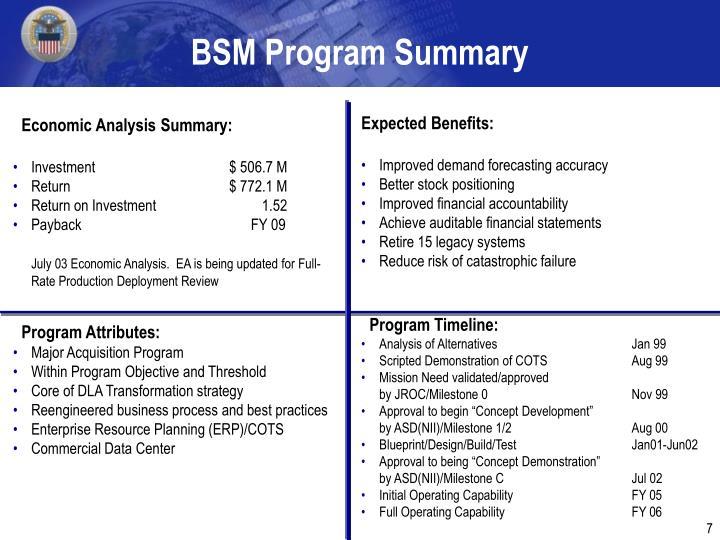BSM Program Summary