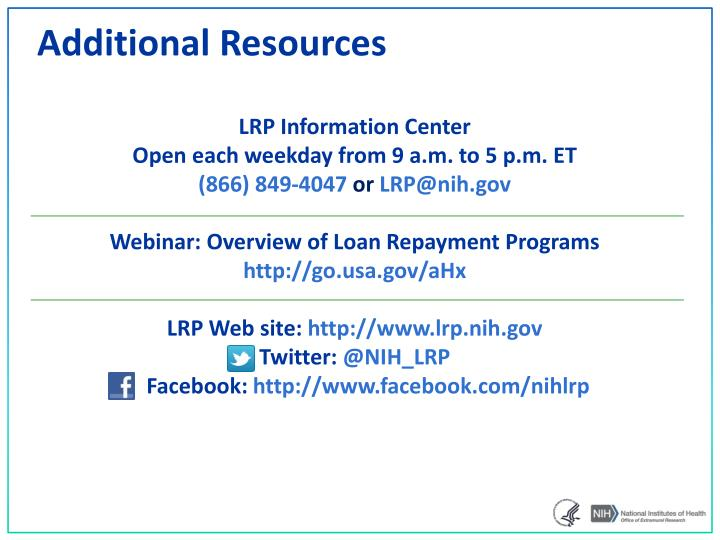 Ppt nih loan repayment programs powerpoint presentation id3380011 additional resources thecheapjerseys Gallery