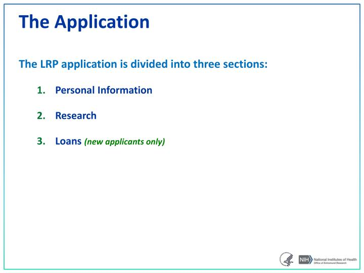 Ppt nih loan repayment programs powerpoint presentation id3380011 the application thecheapjerseys Gallery