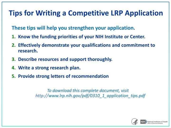 Ppt nih loan repayment programs powerpoint presentation id3380011 tips for writing a competitive lrp application thecheapjerseys Gallery