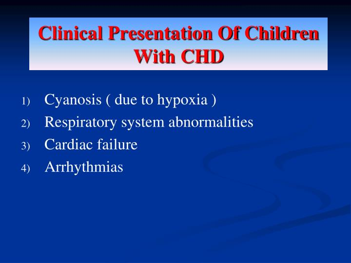 Clinical Presentation Of Children With CHD