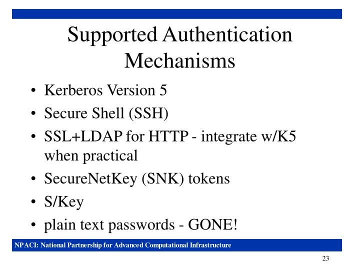 Supported Authentication Mechanisms
