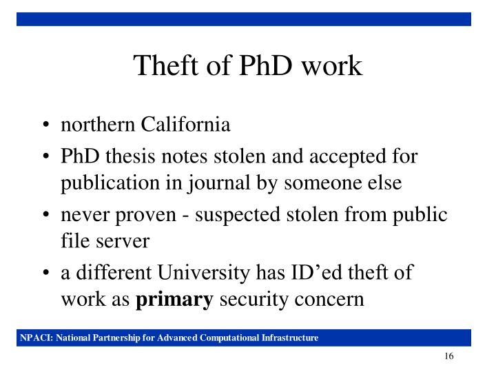 Theft of PhD work