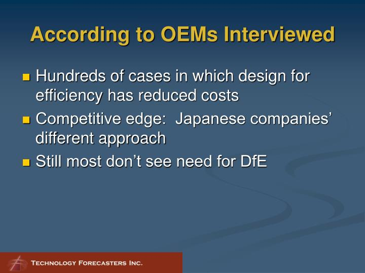 According to OEMs Interviewed