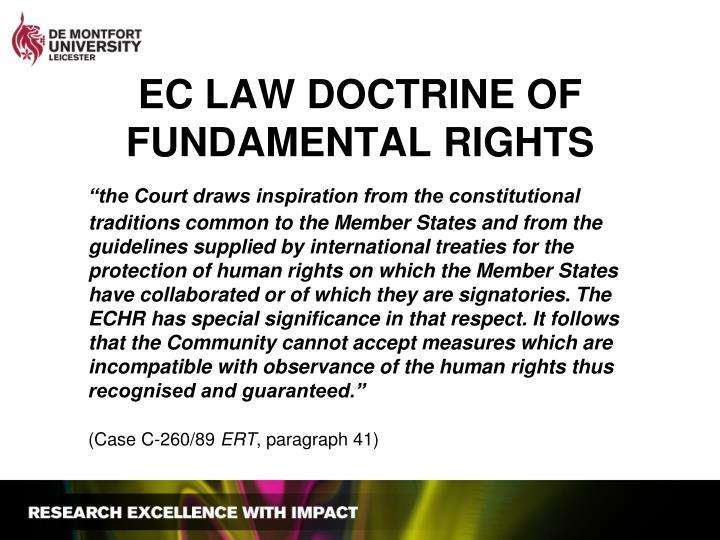 EC LAW DOCTRINE OF FUNDAMENTAL RIGHTS