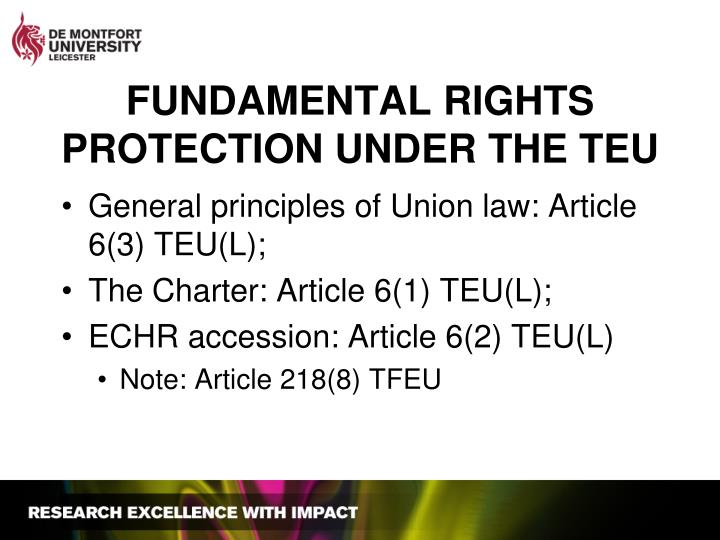 FUNDAMENTAL RIGHTS PROTECTION UNDER THE TEU