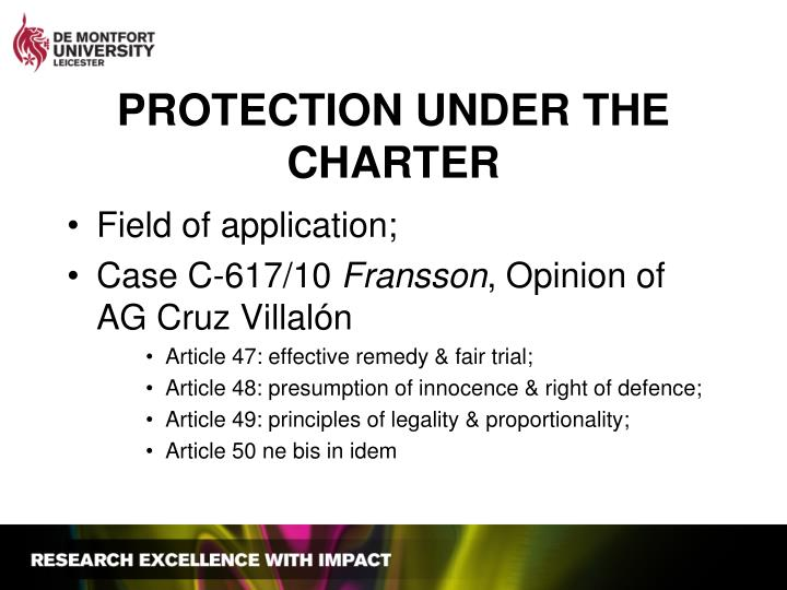 PROTECTION UNDER THE CHARTER
