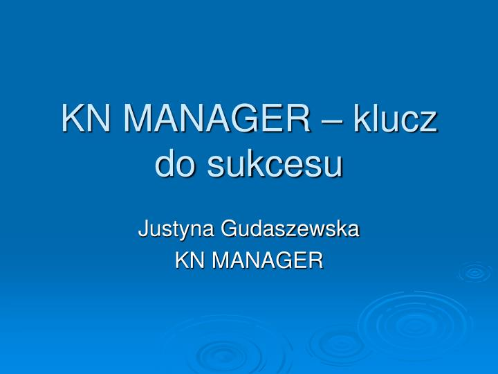 kn manager klucz do sukcesu n.