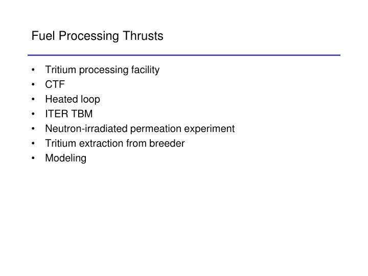 Fuel Processing Thrusts