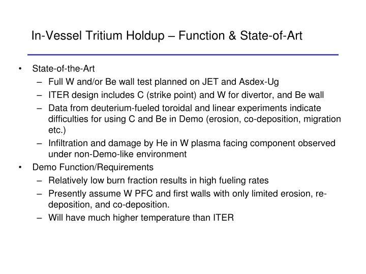 In-Vessel Tritium Holdup – Function & State-of-Art