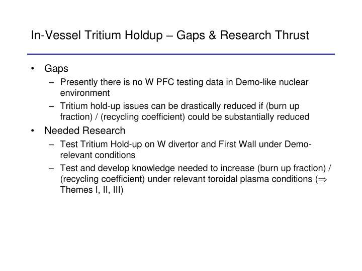 In-Vessel Tritium Holdup – Gaps & Research Thrust