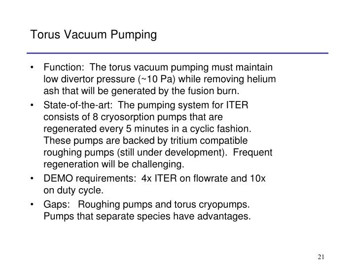 Torus Vacuum Pumping