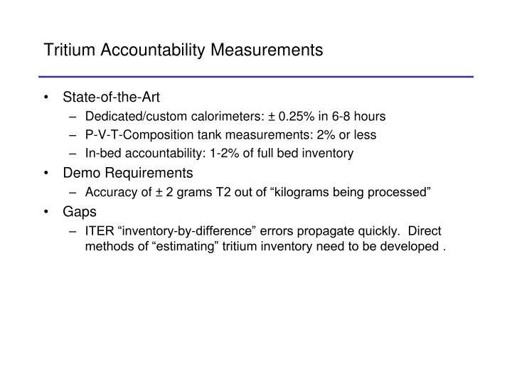 Tritium Accountability Measurements
