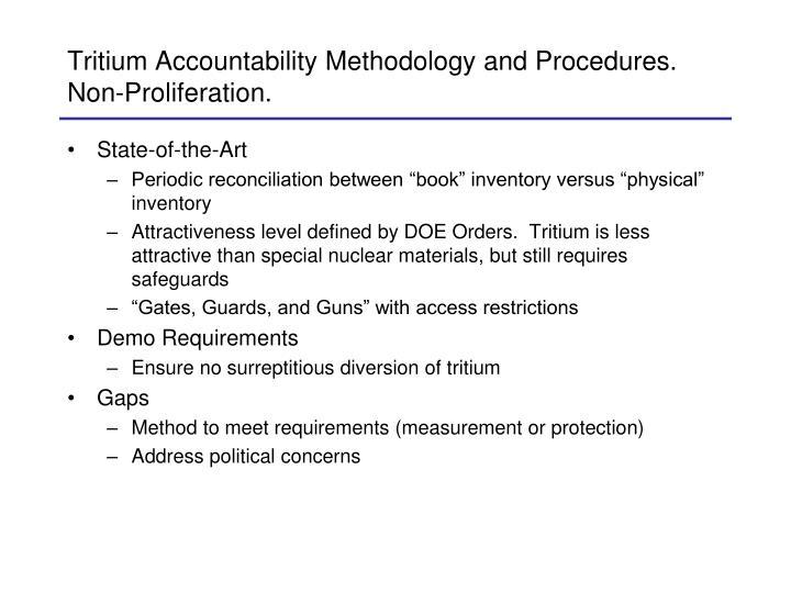 Tritium Accountability Methodology and Procedures.  Non-Proliferation.