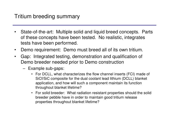 Tritium breeding summary