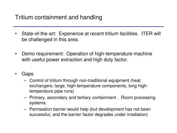 Tritium containment and handling