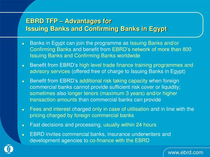 EBRD TFP – Advantages for