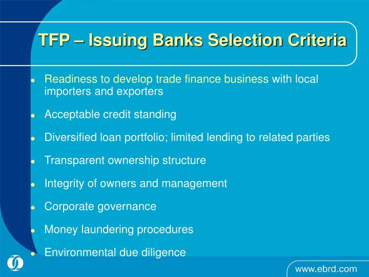TFP – Issuing Banks Selection Criteria