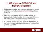 1 mt targets a specific and repeat audience