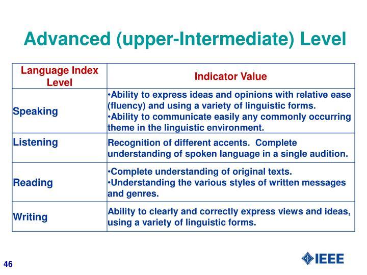 Advanced (upper-Intermediate) Level