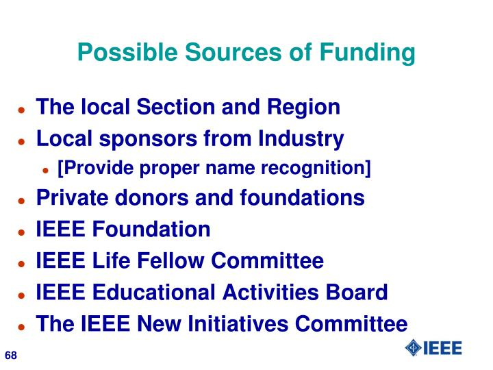 Possible Sources of Funding