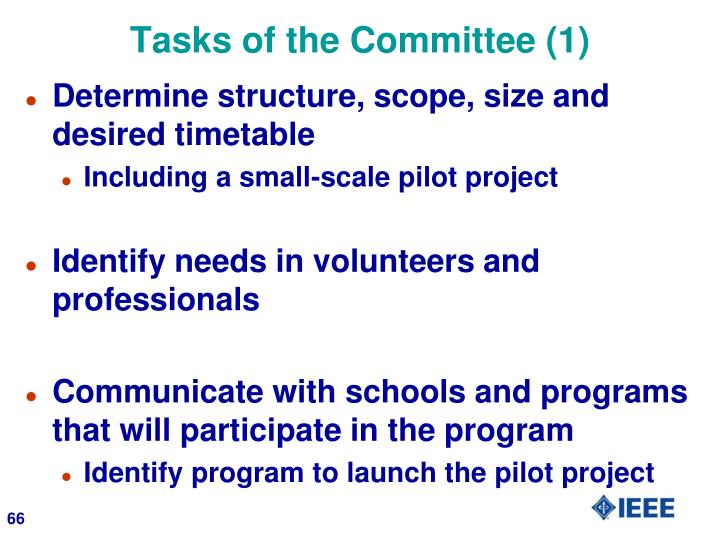Tasks of the Committee (1)