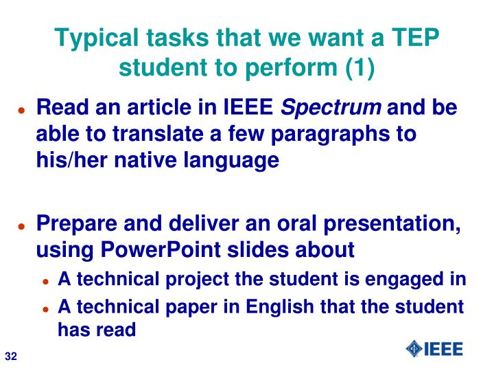 Typical tasks that we want a TEP student to perform (1)