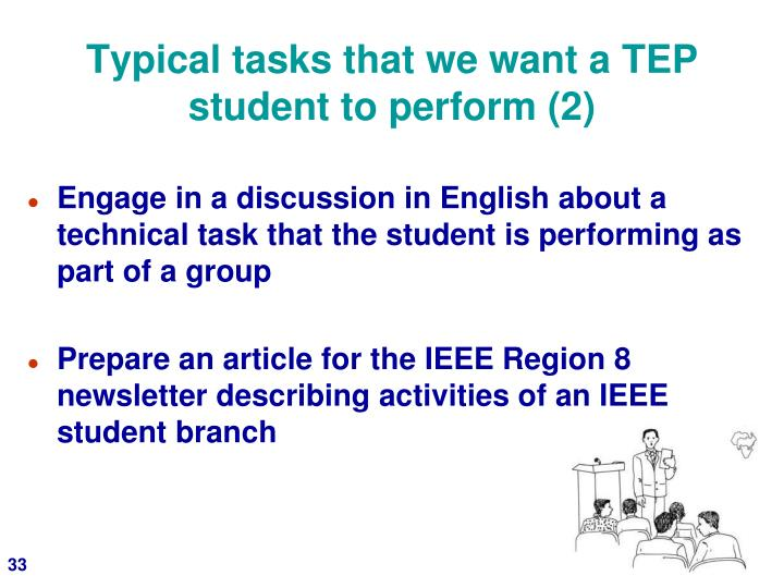 Typical tasks that we want a TEP student to perform (2)